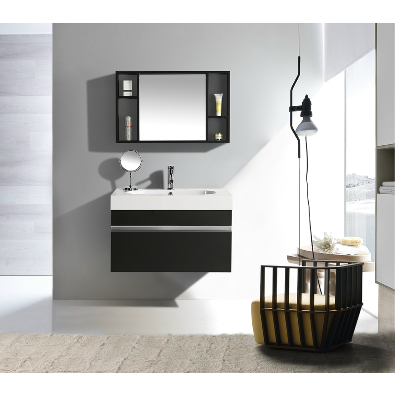 Mobile Arredo Bagno Idea 90 cm Sospeso Moderno Nero -