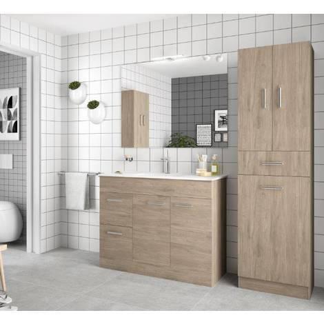 Mobile bagno 100 cm Feros in legno marrone Colorado con lavabo