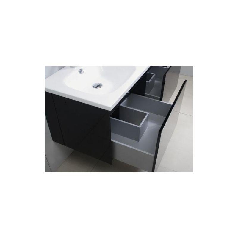 Lavabo Con Mobiletto Sospeso : Mobile bagno cm sospeso lavabo in mineralmarmo moderno nero con