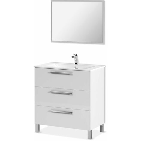 Mobile bagno 3 cassetti a terra 80 cm bianco lucido con specchio