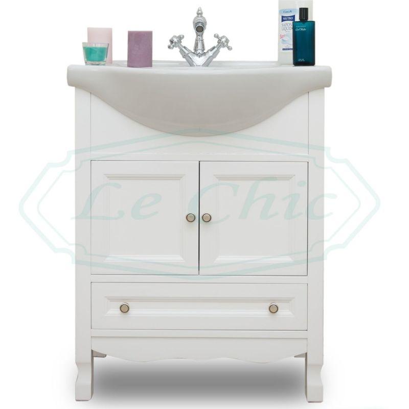 Mobile bagno 65 cm shabby chic in legno bianco provenzale vintage