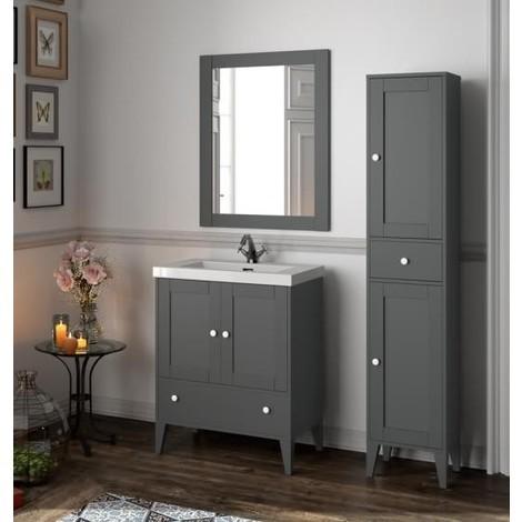 Mobile bagno 700 in legno grigio opaco con lavabo Boheme | Con ...