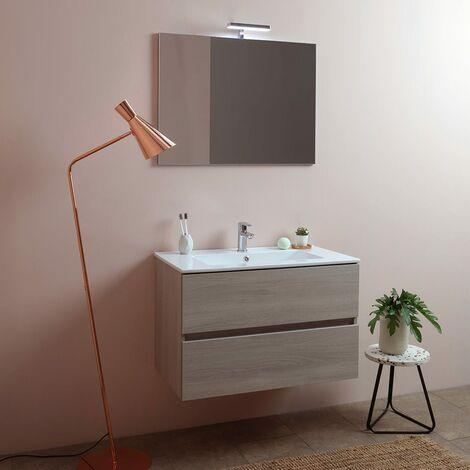 Mobile Bagno 80 cm sospeso Rovere Scuro con 2 cassettoni Completo di lavabo+Specchio+Ceramica+Lampada LED