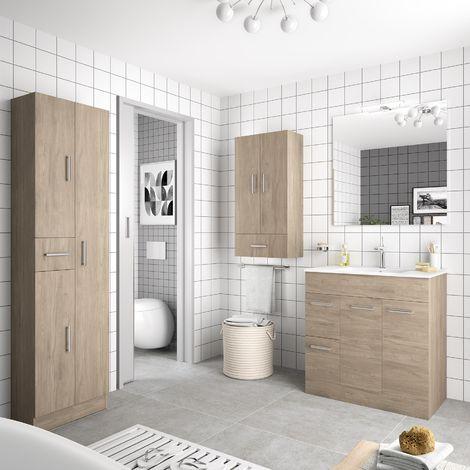 Mobile bagno 80 cm Feros in legno marrone Colorado con lavabo