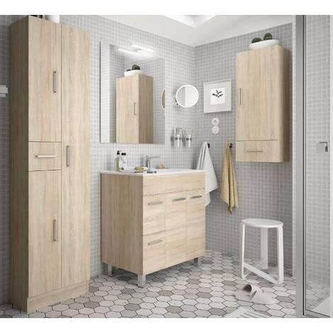 Mobile bagno 80 cm in legno marrone Caledonia con lavabo Terra