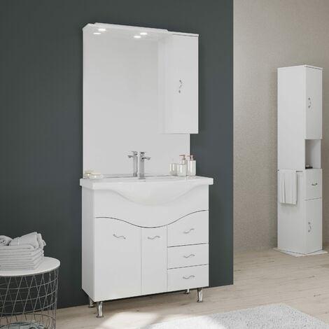 Mobiletti E Specchiere Bagno.Mobile Bagno 85 Cm A Terra Con Lavabo Specchio E Pensile Bianco