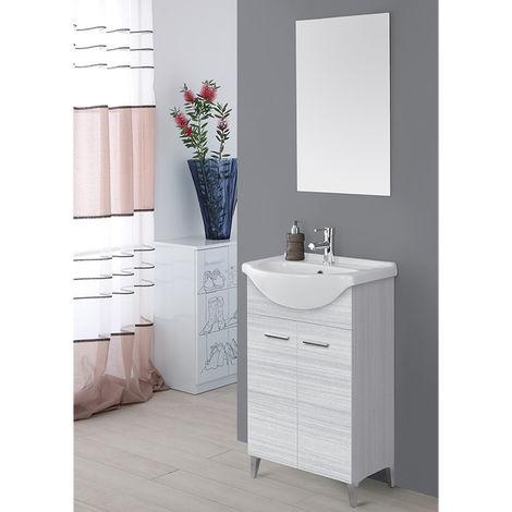 Mobile bagno grigio due ante lavabo ceramica specchio moderno 799083
