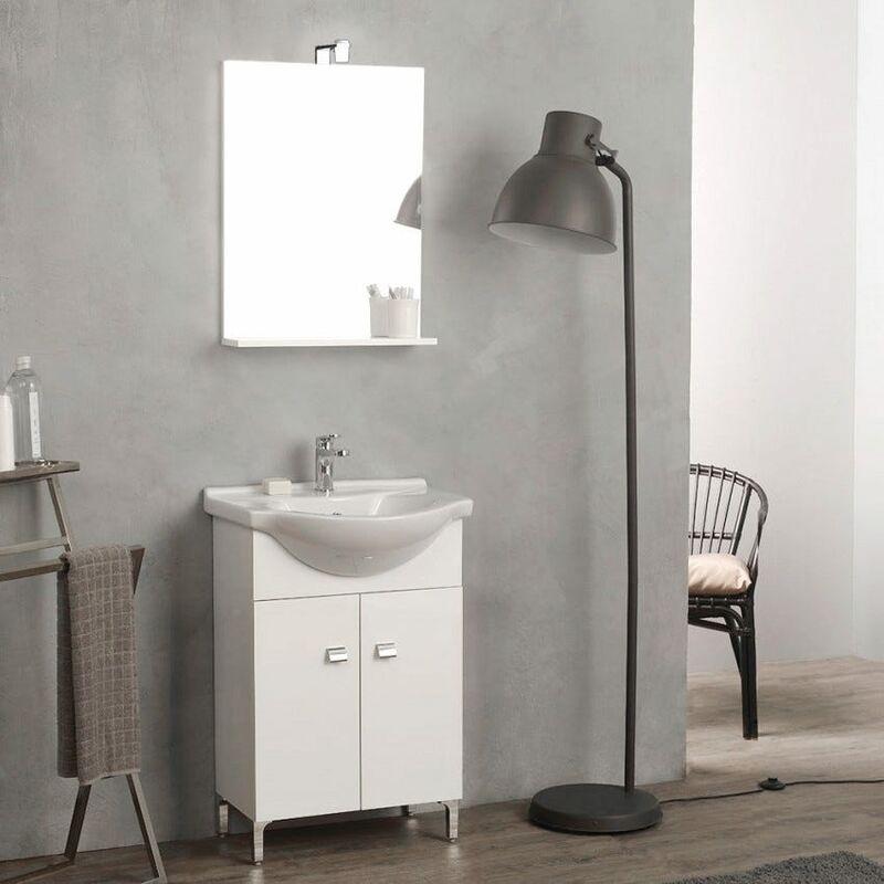 Mobile bagno a terra 58 cm con lavabo e specchio bianco for Lavabo mobile bagno