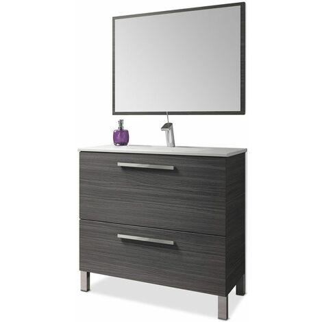 Mobile bagno a terra 80 cm grigio cenere con specchio