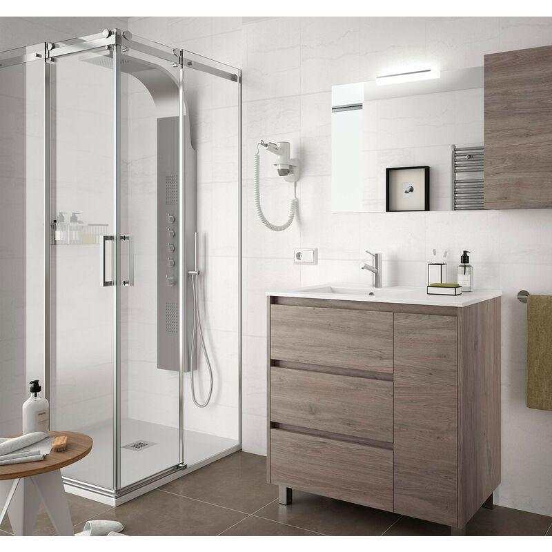 Mobile bagno a terra 85 cm in legno Rovere eternity con lavabo in porcellana | Standard - 85 cm