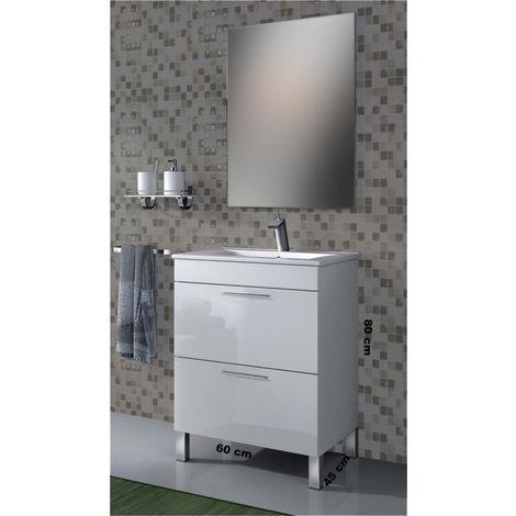 Mobile bagno a terra incluso di lavabo Bianco 2 cassetti 60 cm ...