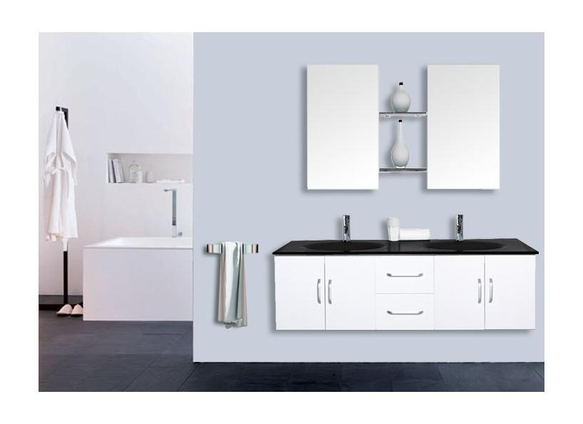 Mobile bagno bianco curtis doppio lavabo cm