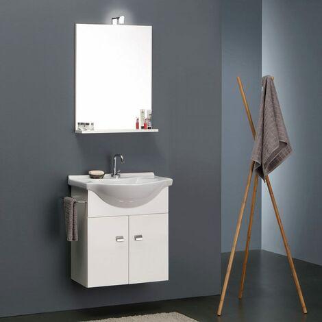 Mobiletti E Specchiere Bagno.Mobile Bagno Bianco Economico Da 56 Cm Lavabo Specchio E Luce