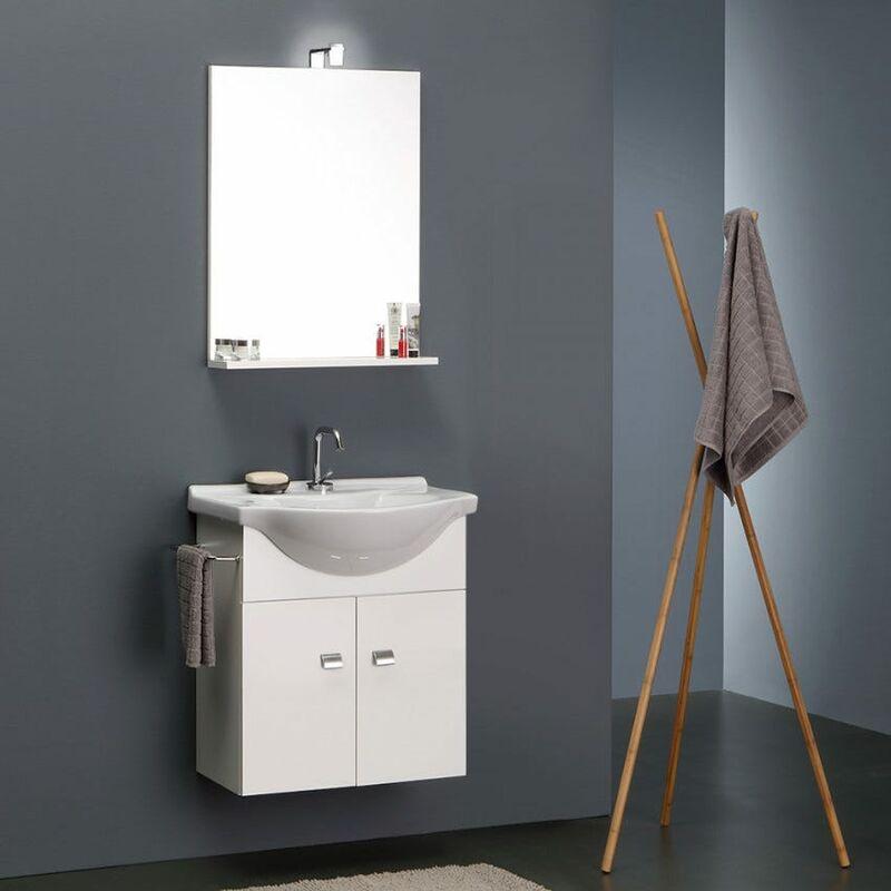Mobile bagno bianco economico da 58 cm lavabo specchio e luce - Lavabo bagno economico ...