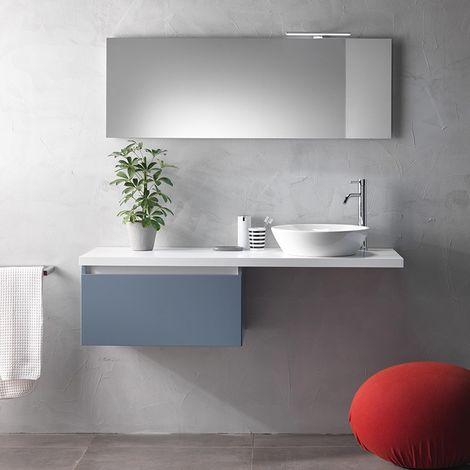 Mobile bagno bianco opaco 140cm lavabo in appoggio ceramica ibiza ...