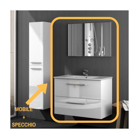 Mobile Bagno Bianco Sospeso 80Cm 2 Ante Cassetto Legno Specchio ...