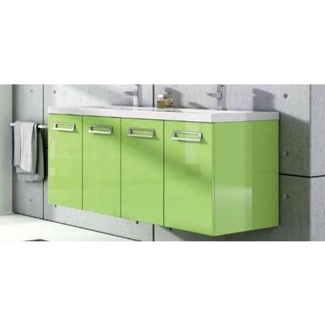 Mobile Bagno cm 120 arredo sospeso moderno 4 ante verde Mobili - LIN01