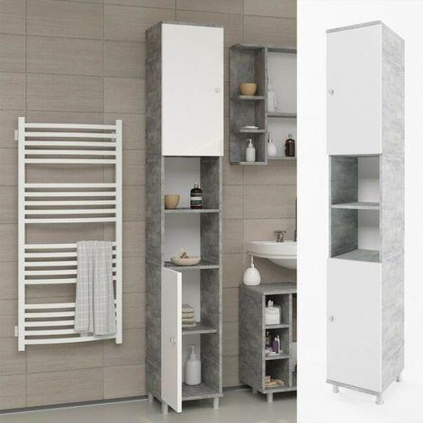 Mobile bagno colonna armadio alto bagno con 6 scomparti e ...