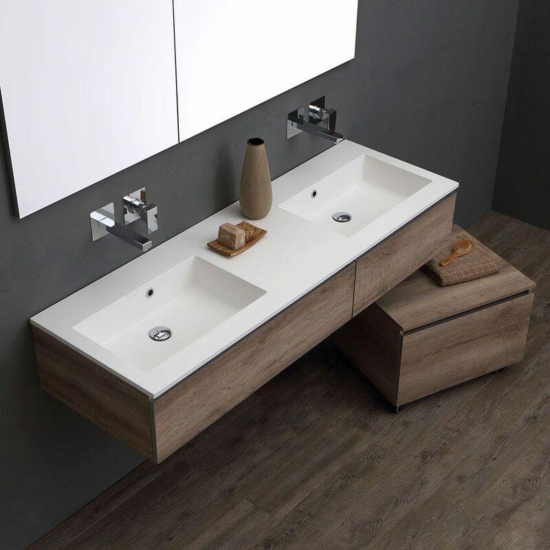 Rubinetto Lavabo A Muro.Mobile Bagno Con Doppio Lavabo Da 150 Cm Per Rubinetto A Muro