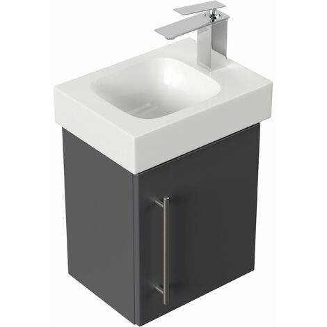 Mobile bagno con lavabo Geberit Icon 38cm a destra antracite satinato