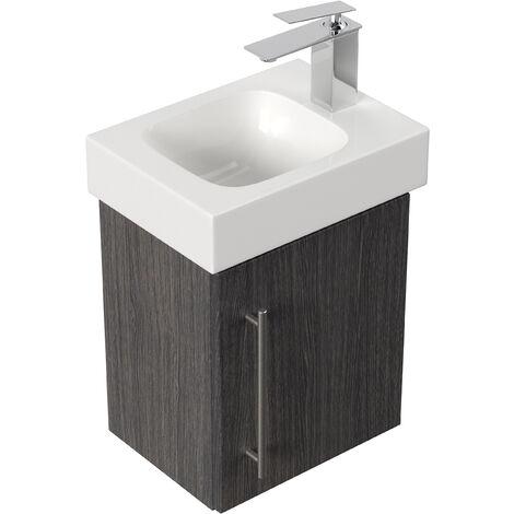 Mobile bagno con lavabo Geberit Icon 38cm a destra antracite venato
