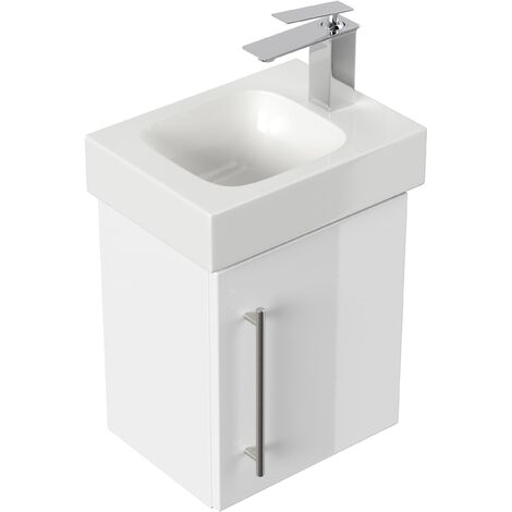 Mobile bagno con lavabo Geberit Icon 38cm a destra bianco lucido