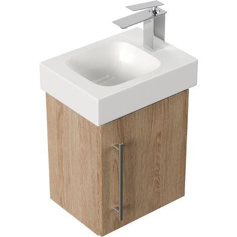 Mobile bagno con lavabo Geberit Icon 38cm a destra rovere chiaro