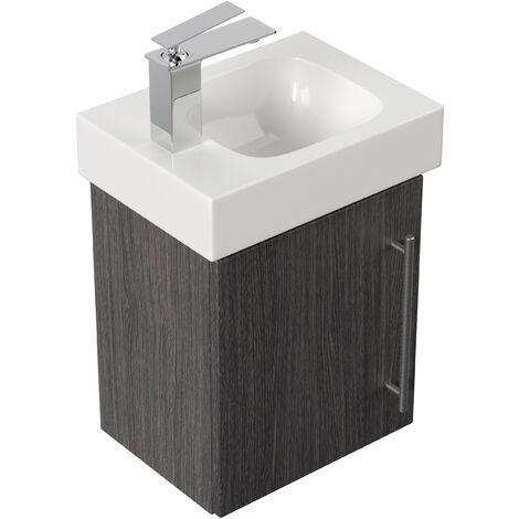 Mobile bagno con lavabo Geberit Icon 38cm a sinistra antracite venato