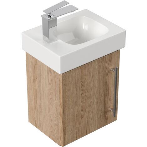 Mobile bagno con lavabo Geberit Icon 38cm a sinistra rovere chiaro