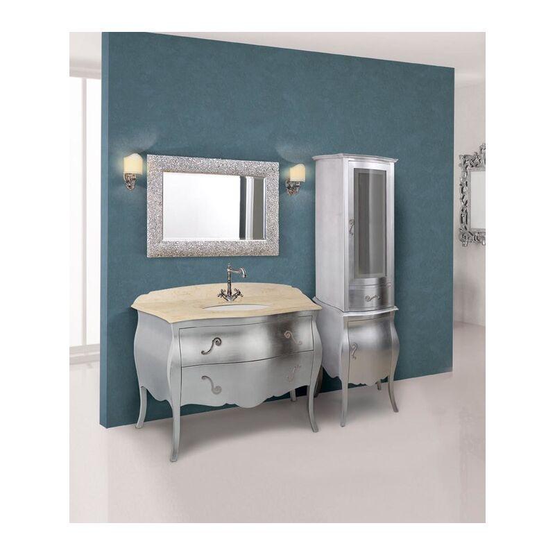 Mobile bagno con specchiera e vetrina finitura foglia argento linea mozart 124x56 cm - global trade - cod. mo15/ca