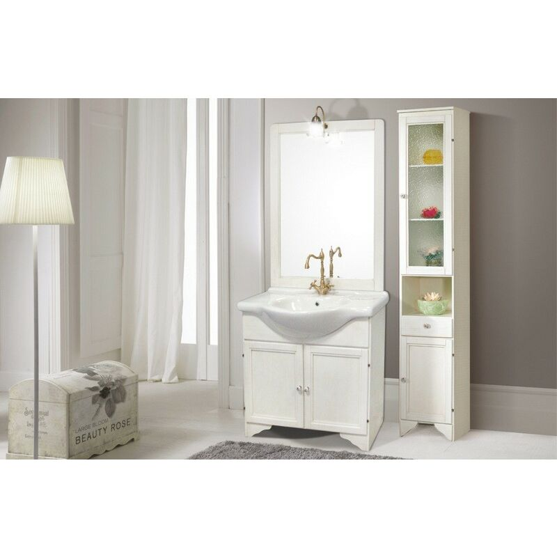 Bagno Legno Bianco : Mobile bagno con specchio anta legno massello bianco