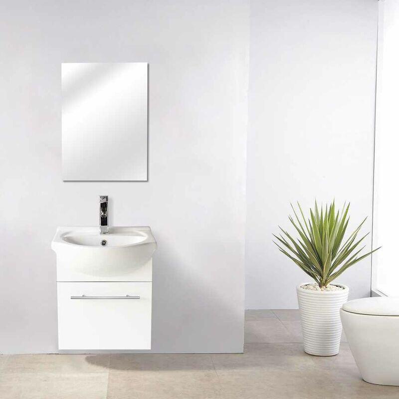 Lavabo Ad Angolo Con Mobiletto.Mobile Bagno Con Specchio Sospeso Con Lavabo In Ceramica Andromeda