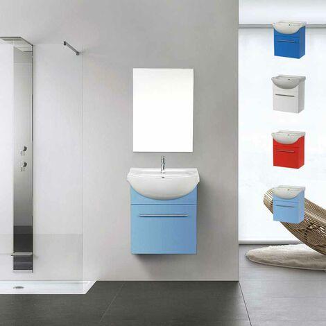 Mobile bagno con specchio sospeso con lavabo in ceramica Andromeda