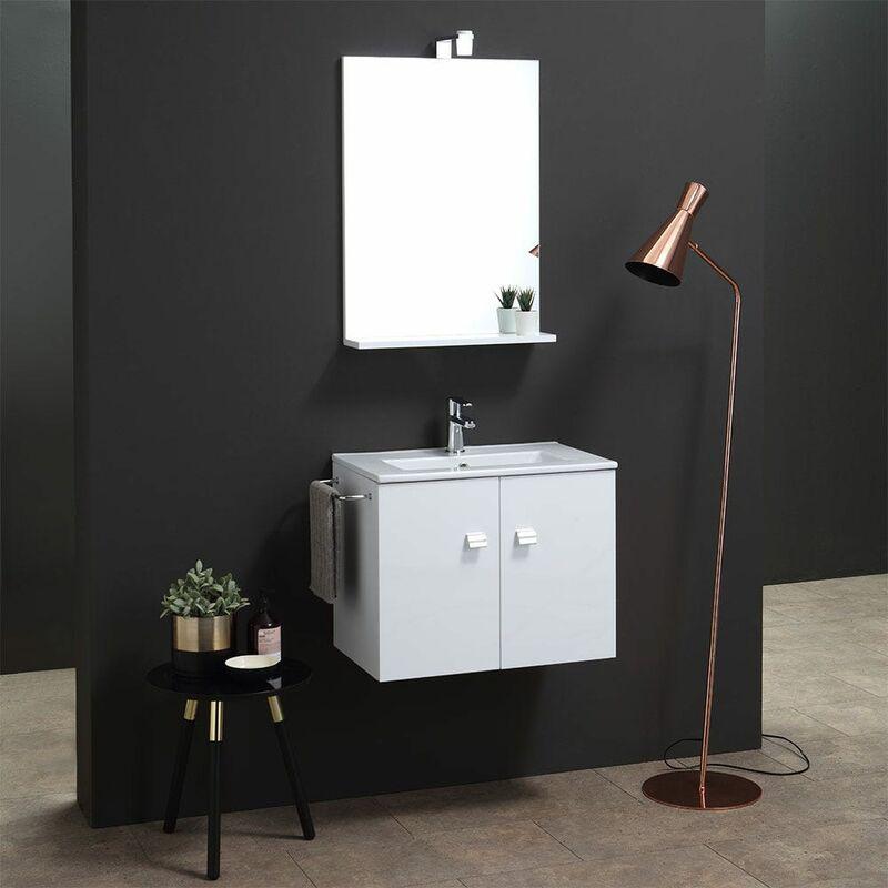 Mobile Bagno Da 60 Cm Con Lavabo E Specchio Bianco Square - KIAMAMI VALENTINA