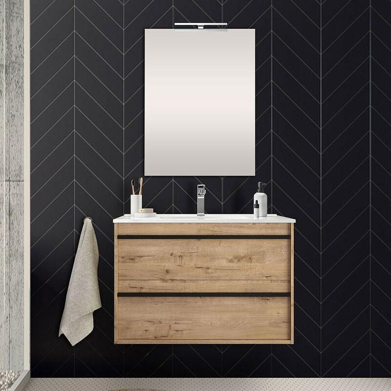 Mobile bagno da 80 cm Nilo rovere oak con doppio cassetto lavabo e specchio - INBAGNO