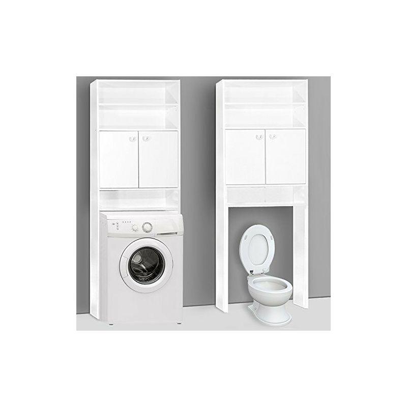Armadio Per Lavatrice Da Esterno.Mobile Bagno Da Incasso Per Lavatrice Armadio Bagno Pensile Bianco Con Ripiani 100527