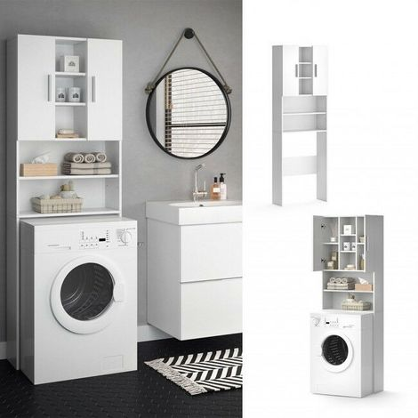Mobili Per Lavatrici Ad Incasso.Mobile Bagno Da Incasso Per Lavatrice Armadio Bagno Pensile Con 2