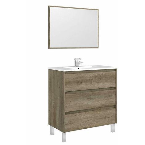 Mobile da bagno 80 cm rovere con 3 cassetti specchio senza lavabo ...