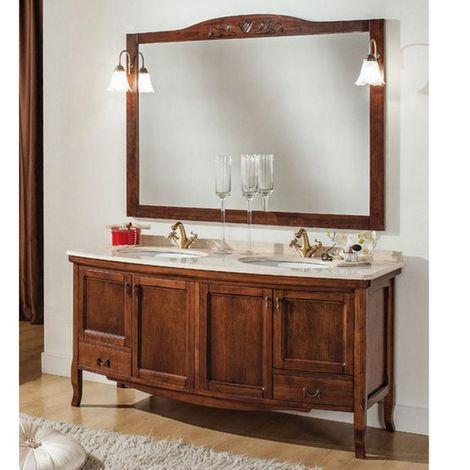 mobile bagno doppio lavabo cm 160 arredo arte povera specchio e applique  inclusi