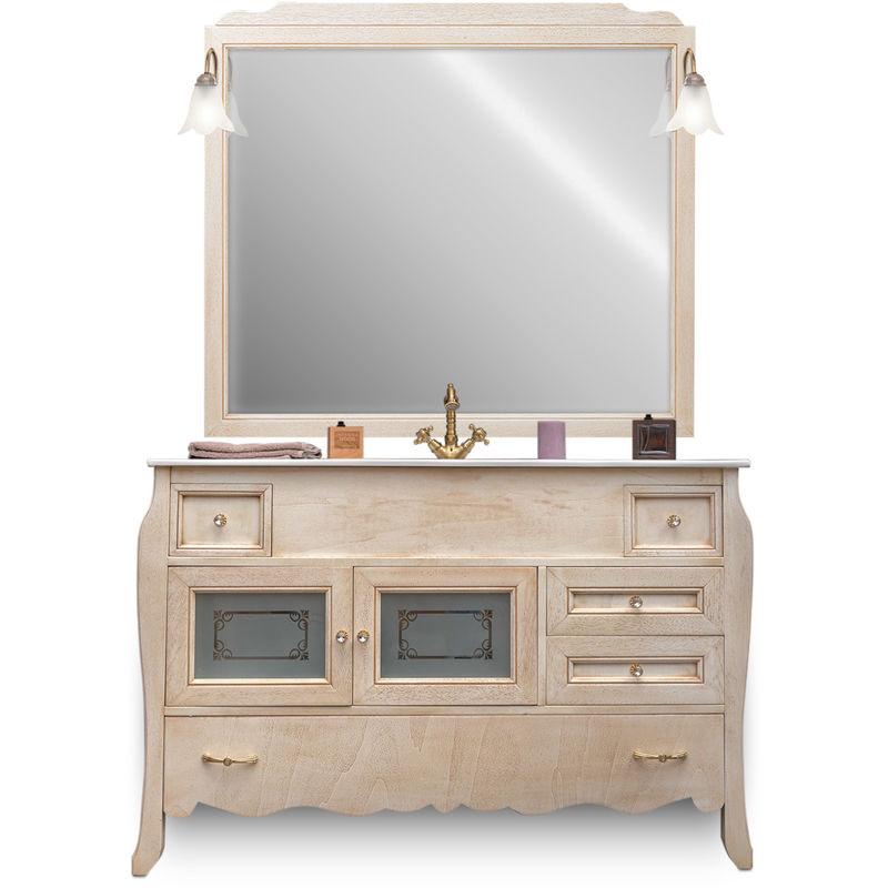 Le Chic Arredamenti - Mobile bagno finitura decapè 123 cm con specchiera