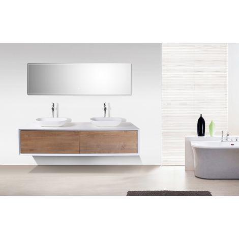 Mobile bagno Fiona 1800 bianco opaco - facciata rovere - specchio e ...