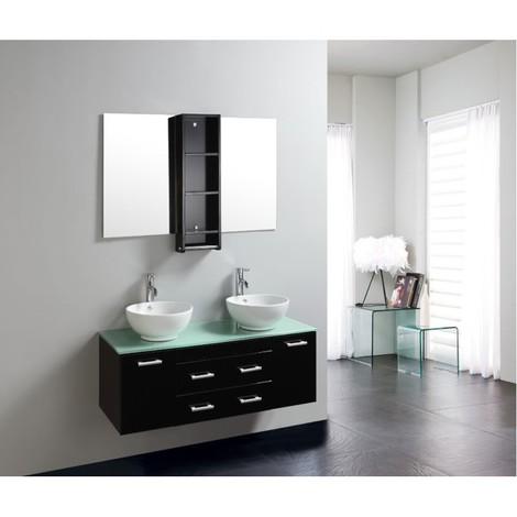 Mobile bagno garry nero doppio lavabo in appoggio 120cm