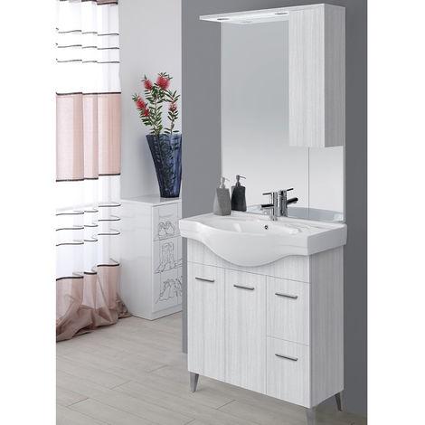 Mobile bagno grigio 2 ante 2 cassetti lavabo specchio con luci ...