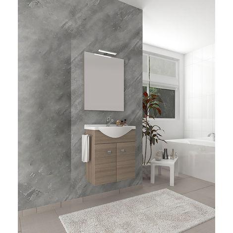 Mobile bagno linea zaffiro cm 60 due ante con lavabo rettangolare rovere  fumo