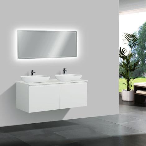 Mobile bagno Luna 1200 bianco opaco con piastra d\'appoggio- specchio ...