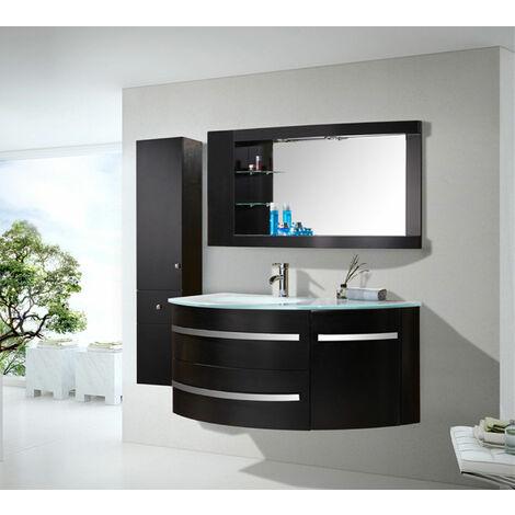 Mobile Bagno Modello NUOVO BLACK AMBASSADOR Nero 120cm arredobagno con specchio e rubinetti