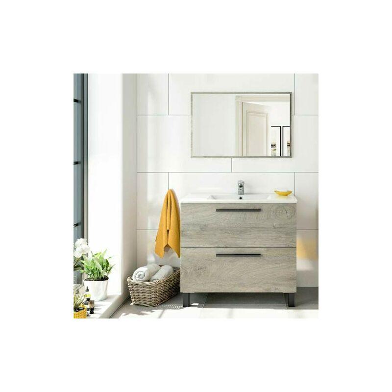 Mobile bagno moderno Athena con due cassettoni in rovere. Mobili bagno Fores in legno completo di specchio.