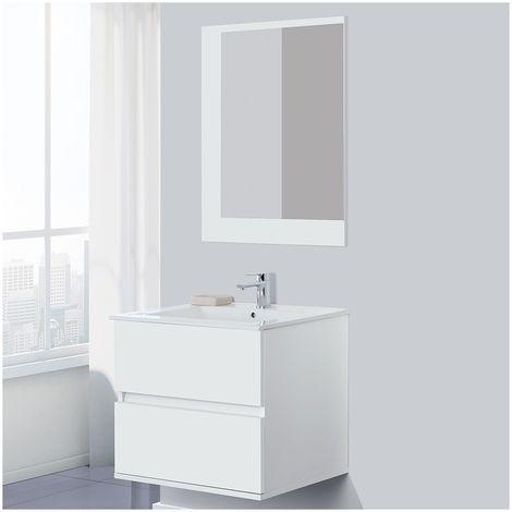 Mobile Bagno Moderno Bianco 60 cm Sospeso con 2 Cassetti e Specchio ...