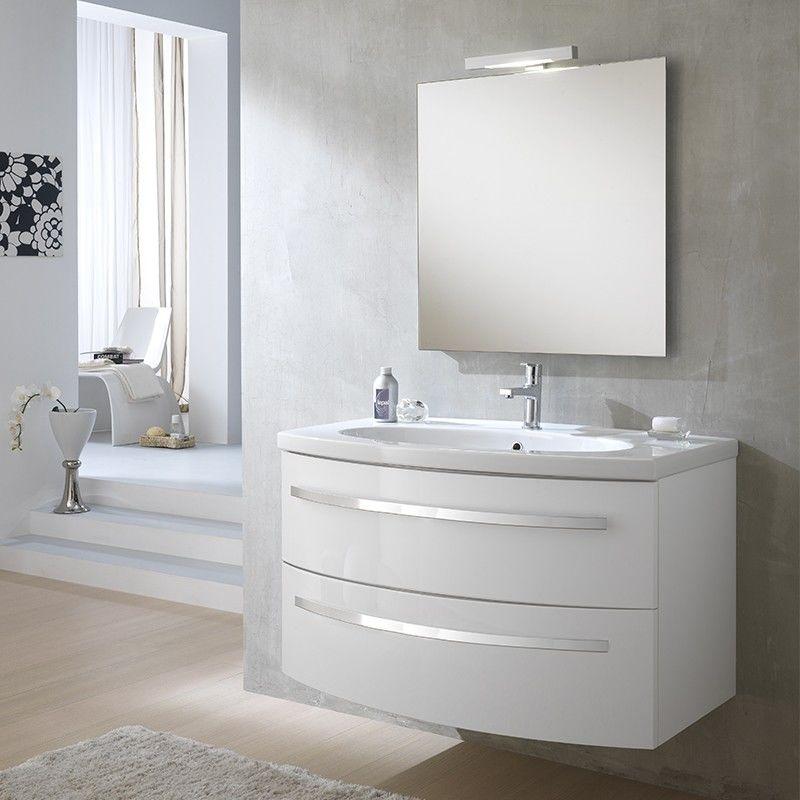 Mobile bagno monica 100cm bianco laccato lavabo in ceramica
