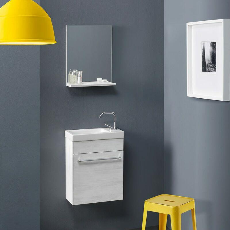 Platzsparendes Kleines Badmöbel-Set Mit Waschtisch Serie Smart - Weisses Holzmuster - KIAMAMI VALENTINA